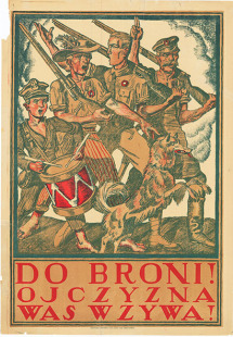 Plakat propagandowy z okresu wojny polsko-bolszewickiej 'Do broni! Ojczyzna was wzywa!'. B. m. (Warszawa) b. r. (1920) / A propaganda poster from the Polish-Soviet War saying 'To arms! Our homeland is calling us!'. No place (Warsaw), no year (1920). (MHP-IKP 27)